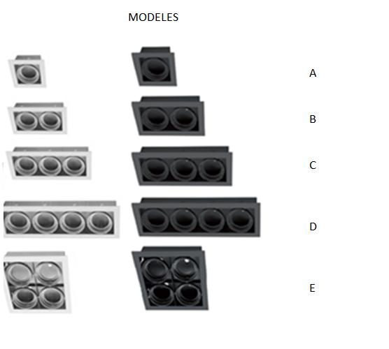 modèles d'encastrés pour ampoules AR111